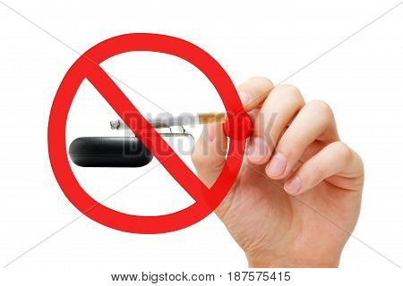 Hand drawing No Smoking prohibition sign concept on ashtray and lighted cigarette.