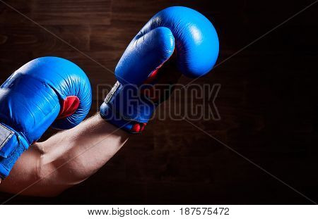 Close-up image of hands with blue and red gloves against wooden wall. Horizontal photo and brown background. Boxing exercise and training. Boxing equipment. Concept of the sportive lifestyle.