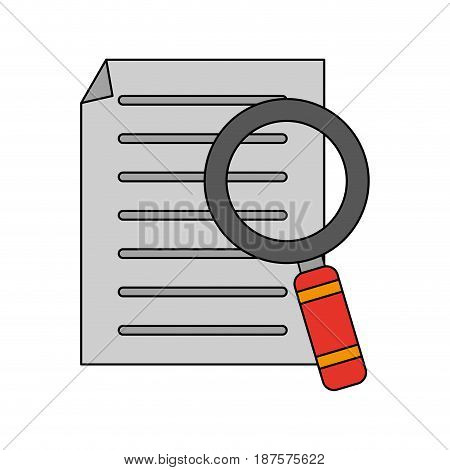 white background with file search magnifying glass vector illustration