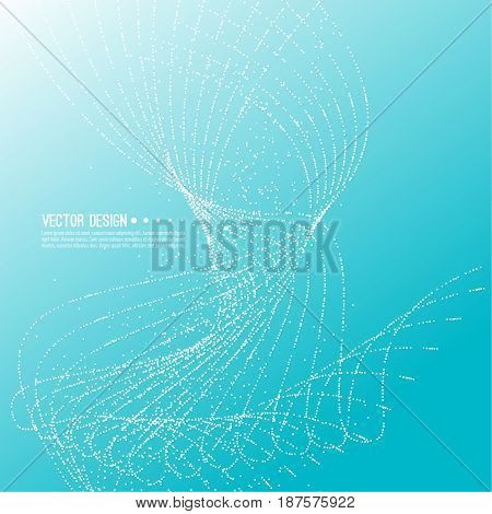Abstract techno background with atom, molecule in waves. Technology, technical vector. Dynamic stream fragments of neurons dot. Sprayed circle particles in force field array.