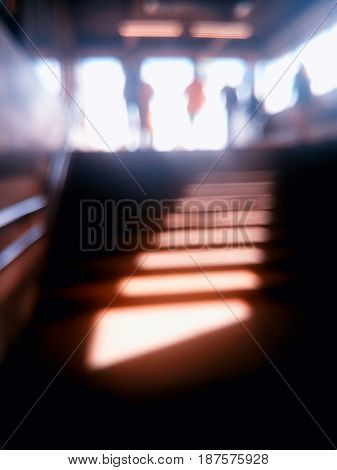 Diagonal metro station stairs bokeh background hd
