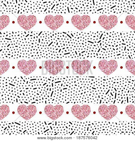 Seamless pattern of hearts-vector illustration. Red dots on a white background. Sticks and slashes and dots