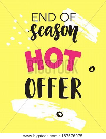 Hot Offer, End of Season. Summer Sale mobile banner template for online shopping. Vector Illustration