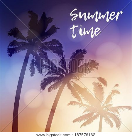Summer time greeting card, invitation. Silhouette of palm trees again the sky during the beautiful sunset. Tropical jungle design. Vacation concept, vector illustration background.