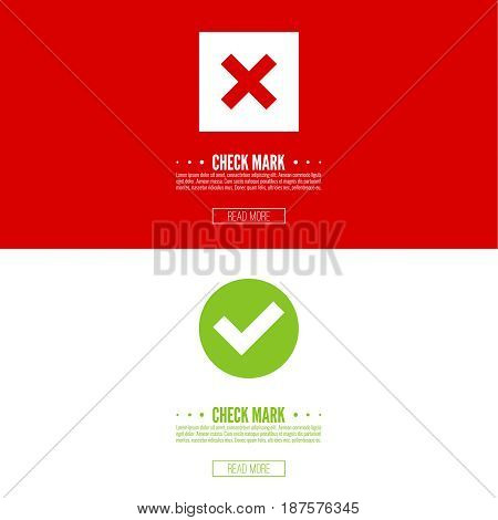 Set of vector buttons with check marks, ticks, x. checkbox. Web and mobile applications.confirmation, form of access denial, refusing. red, green template layout