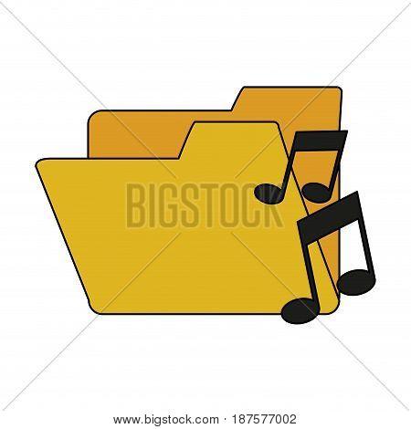 white background with music folder vector illustration