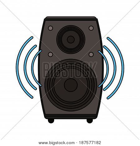 white background with loudspeaker in wood box vector illustration