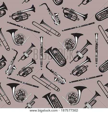 Vector seamless pattern with wind musical instruments. Saxophone clarinet trumpet trombone didgeridoo french horn and tuba. Black and white woodwind and brass musical instruments.