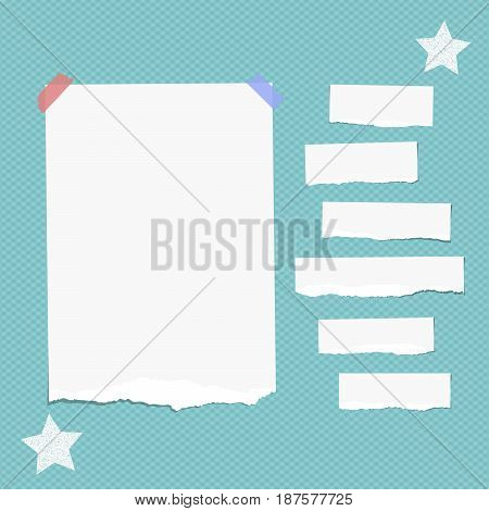 Ripped white note, notebook, copybook paper strips stuck with sticky tape, stars on squared blue background