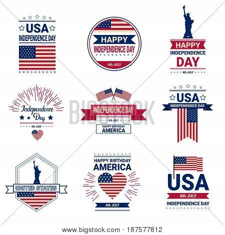 United States Flag Independence Day Holiday 4 July Banner Retro Greeting Card Set Flat Vector Illustration