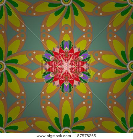 Motley seamless pattern. Vector abstract flower background. Pretty floral print with red small flowers.