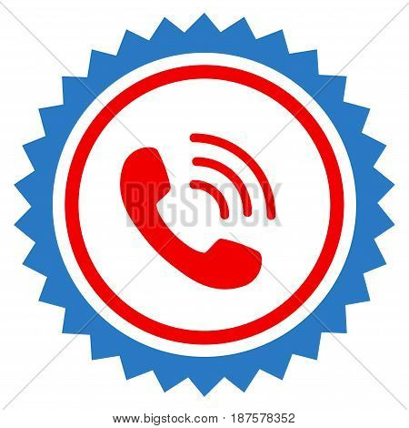 Phone Call Stamp Seal flat vector illustration. An isolated illustration on a white background.