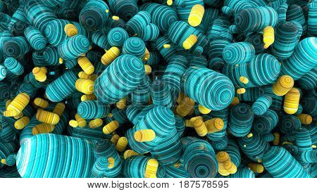 Abstract cloud with capsules tablets 3D rendering stretched pixels texture.