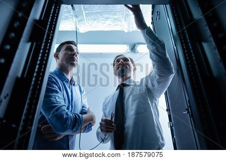 High quality connection. Cheerful professional male technician holding internet wires and intending to connect them to the data server while standing with hic colleague