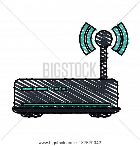 colorful crayon silhouette of wireless router vector illustration