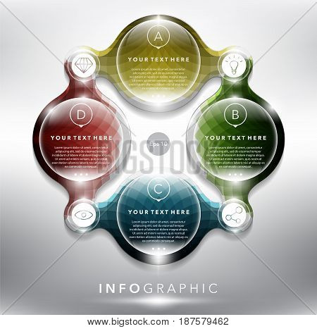 Abstract info graphic with circle elements. 4 parts concept. Can be used for workflow layout, banner, number options, step up options, diagram, web design. Vector illustration. Eps10.