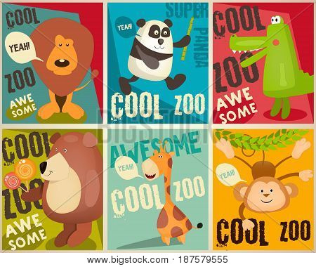 Zoo Park Mini Posters Set. Vector Illustration.