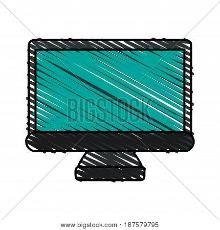 colorful crayon silhouette of lcd monitor vector illustration