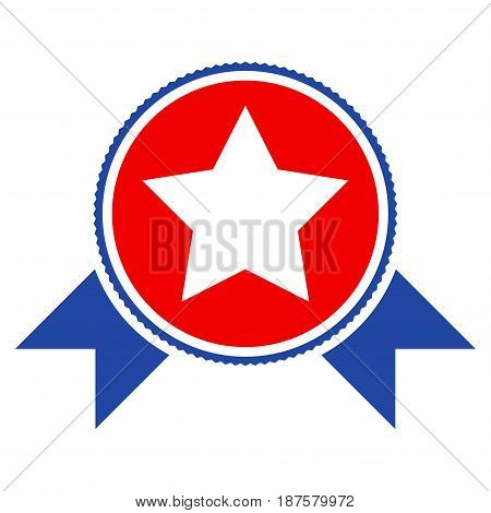 Star Award With Ribbons flat vector pictogram. An isolated illustration on a white background.