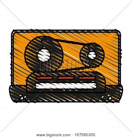 colorful crayon silhouette of tape cassette vector illustration
