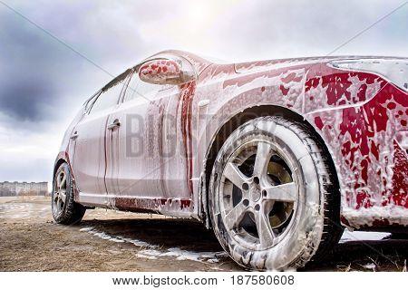 Red Car In Foam