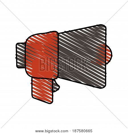 colorful crayon silhouette of megaphone closeup vector illustration