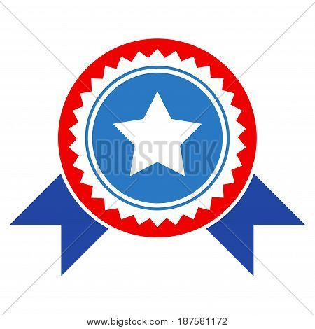 Star Stamp With Ribbons flat vector icon. An isolated illustration on a white background.