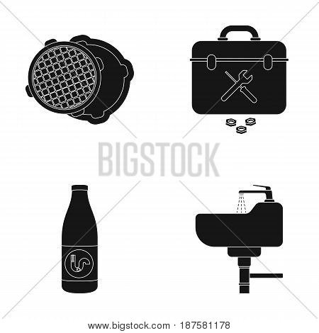 A sewer hatch, a tool box, a wash basin and other equipment.Plumbing set collection icons in black style vector symbol stock illustration .