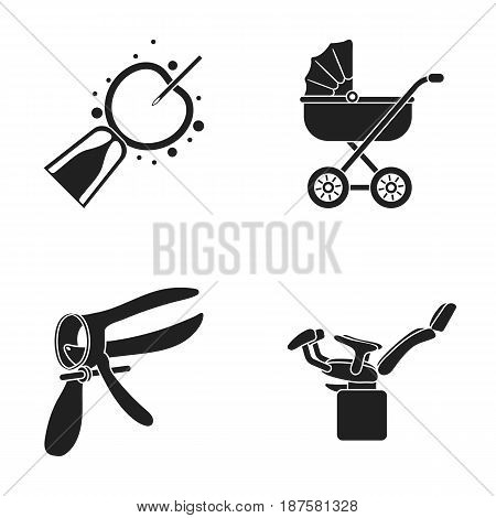 Artificial insemination, baby carriage, instrument, gynecological chair. Pregnancy set collection icons in black style vector symbol stock illustration flat.