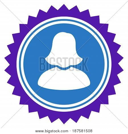 Woman Stamp Seal flat vector illustration. An isolated illustration on a white background.