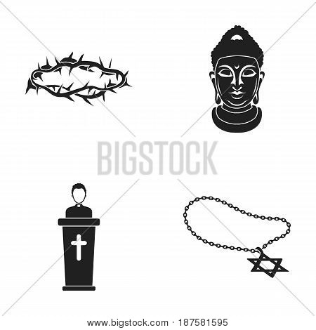 A crown of thorns, a star of David, a priest, a buddha s head. Religion set collection icons in black style vector symbol stock illustration .