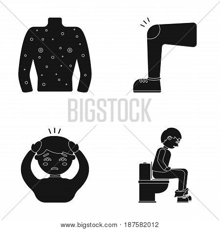 The human body is covered with ulcers, boils, a red rash, a knee of a man with a bruise, a patient with a headache and asterisks, a person sitting on the toilet with stomach disease. Sick set collection icons in black style vector symbol stock illustratio