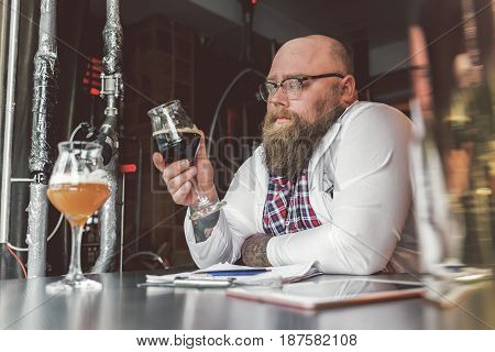 Little degustation. Delighted bearded man holding glass of dark beer while intently considering color of beverage. He leaning at table thoughtfully