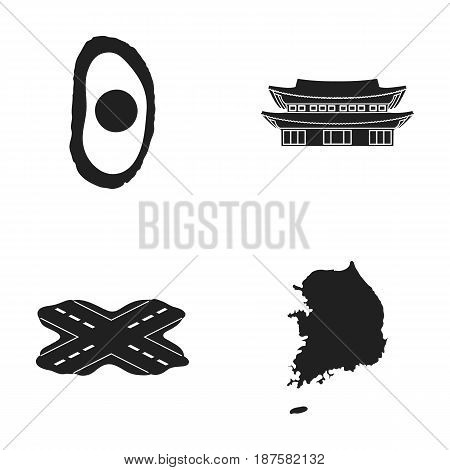 National Egg Food, Monastery of Interest, Crossroads with traffic lights, map of South Korea. South Korea set collection icons in black style vector symbol stock illustration .