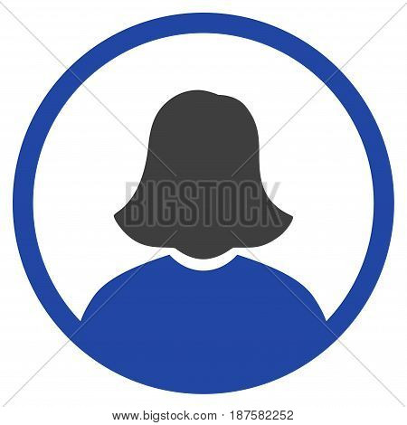 Rounded Woman Portrait flat vector pictogram. An isolated illustration on a white background.