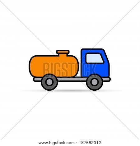 Fuel tanker truck color icon. Side view cartoon symbol vector illustration.