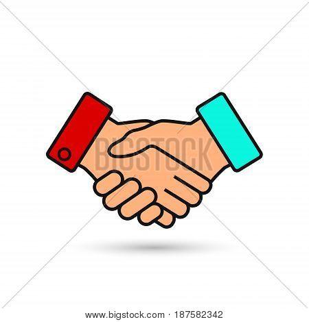 Handshake business vector illustration symbol of success deal happy partnership greeting shake casual handshaking agreement color sign.