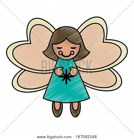 colorful crayon silhouette of decorative angel vector illustration