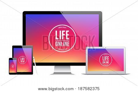 mockup gadget and device: stylus smartphone tablet laptop and computer monitor with colored screen isolated on white background. stock vector illustration eps10