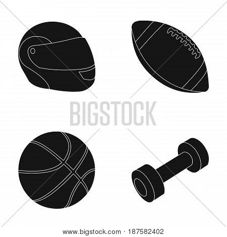 Red protective helmet, rugby ball, basketball ball, dumbbells. Sport set collection icons in black style vector symbol stock illustration .