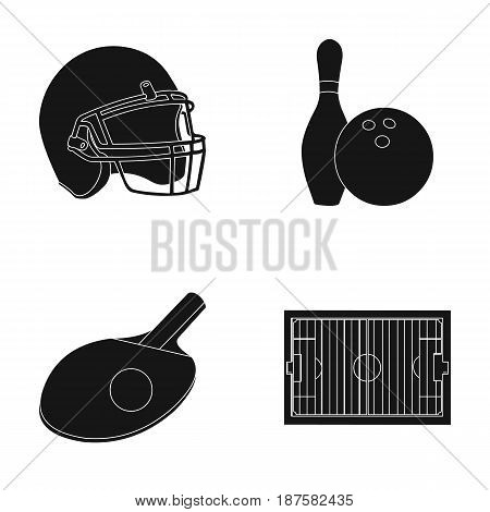 Keglie and bowling ball, protective helmet for rugby, racket and ball for playing ping-pong, field, stadium for football. Sport set collection icons in black style vector symbol stock illustration .