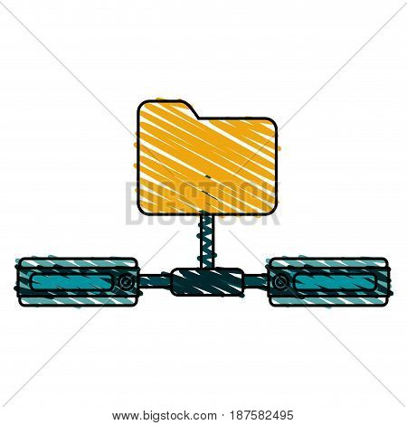 colorful crayon silhouette of network sharing folder vector illustration