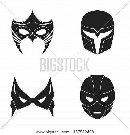 Mask on the head and eyes. Super Hero Mask set collection icons in black style vector symbol stock illustration .