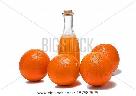 Beautiful fresh oranges and utensils, isolated on white background