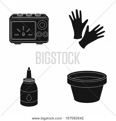 Rubber gloves, ink and other equipment. Tattoo set collection icons in black style vector symbol stock illustration .