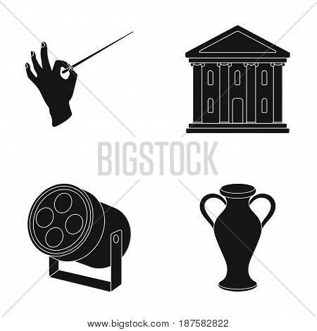 Conductor s baton, theater building, searchlight, amphora.Theatre set collection icons in black style vector symbol stock illustration .