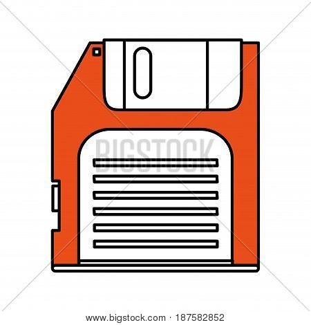 color silhouette image of floppy disk vector illustration