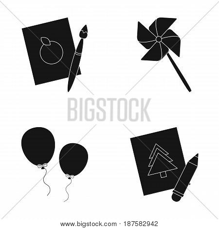 Pictures, a windmill, balloons. Tigers set collection icons in black style vector symbol stock illustration .