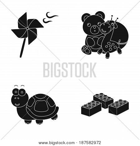 A toy propeller, a teddy bear with a giraffe and a colorful ball, a toy turtle, a lego, a designer for children. Toys set collection icons in black style vector symbol stock illustration .