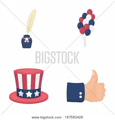 Balloons, inkwell with a pen, Uncle Sam s hat. The patriot s day set collection icons in cartoon style vector symbol stock illustration .